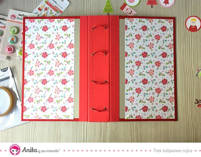 cómo hacer encuadernación fácil álbum navidad