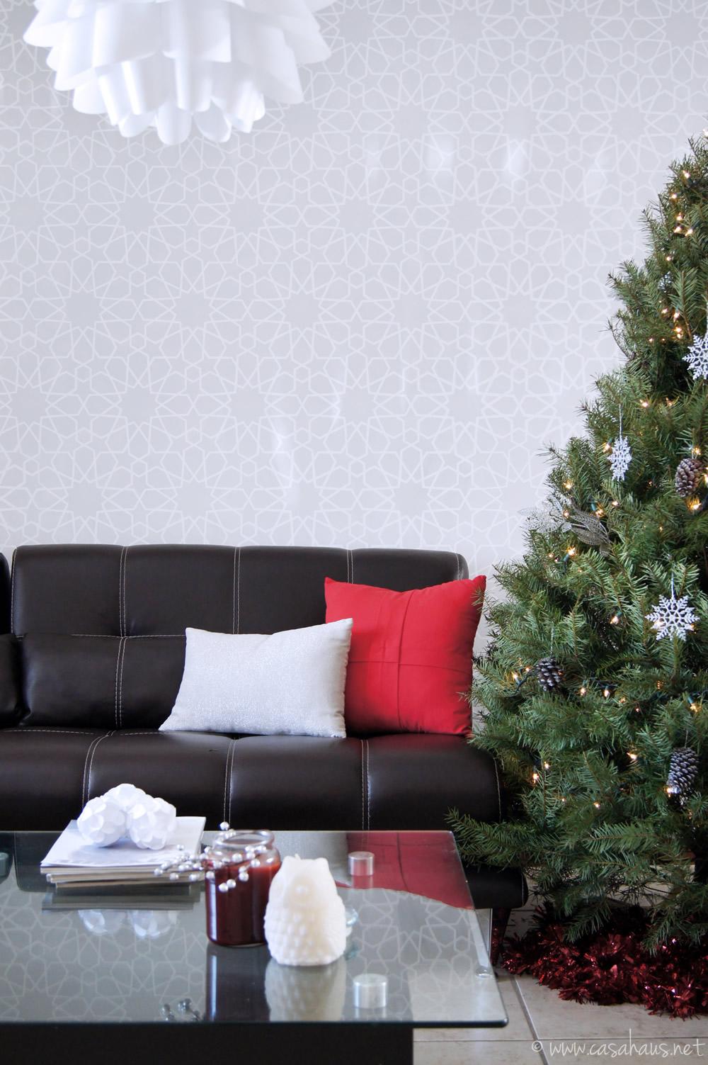Sala decorada para Navidad