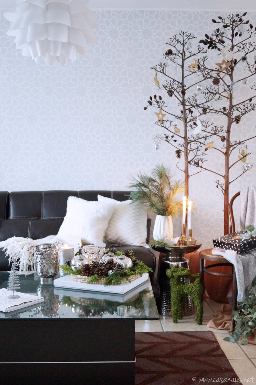 Decoración de Navidad estilo nórdico en sala
