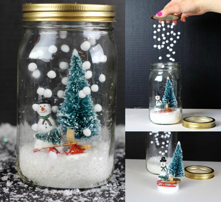 Manualidades de Navidad - Bote de vidrio decorado