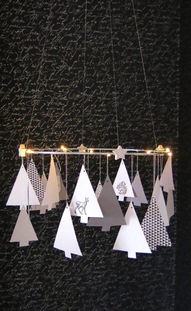 Manualidades de Navidad - Colgante de arbolitos de papel