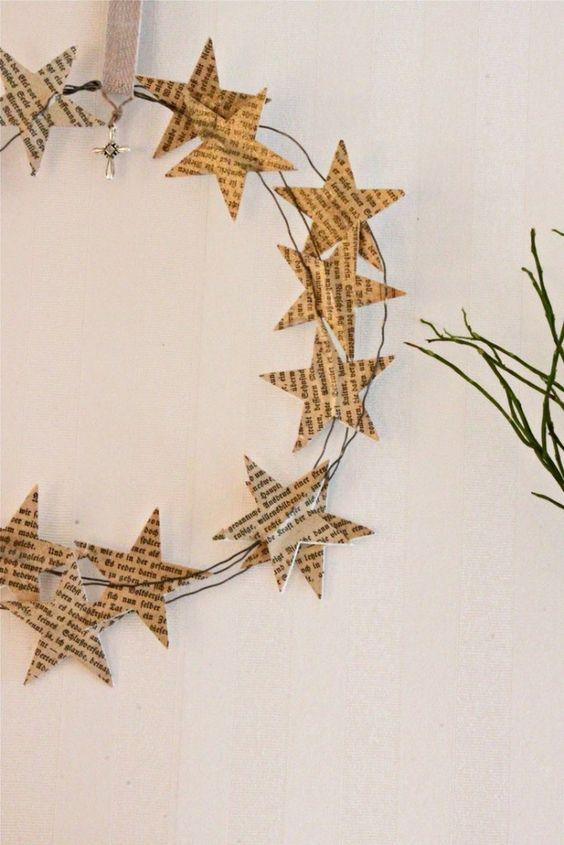 Manualidades de Navidad - Corona de estrellas de papel