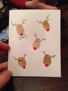 Manualidades de Navidad - TArjetas de felicitacion personalizadas con renos Rudolph