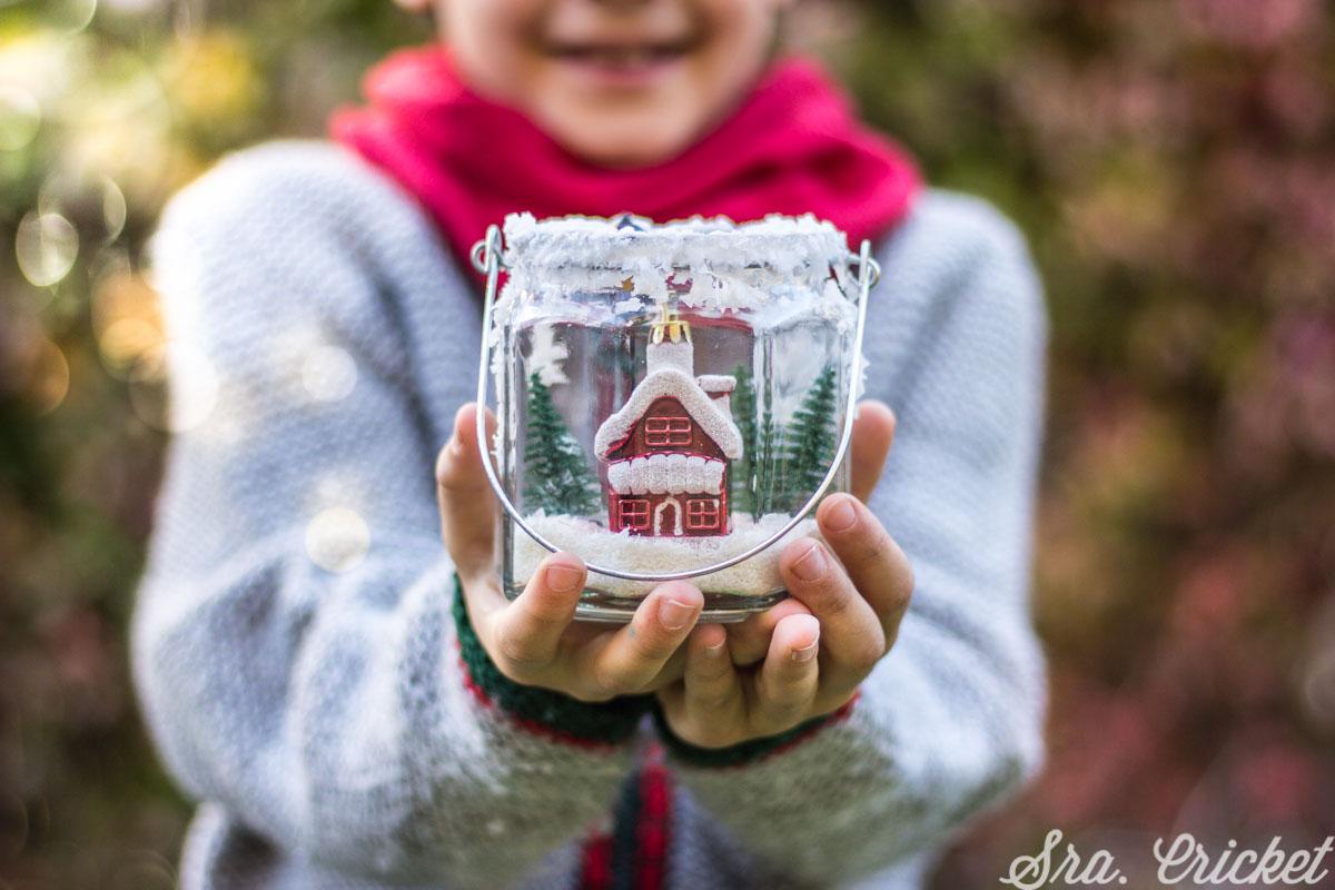 decorar tarros con nieve manualidades navidad