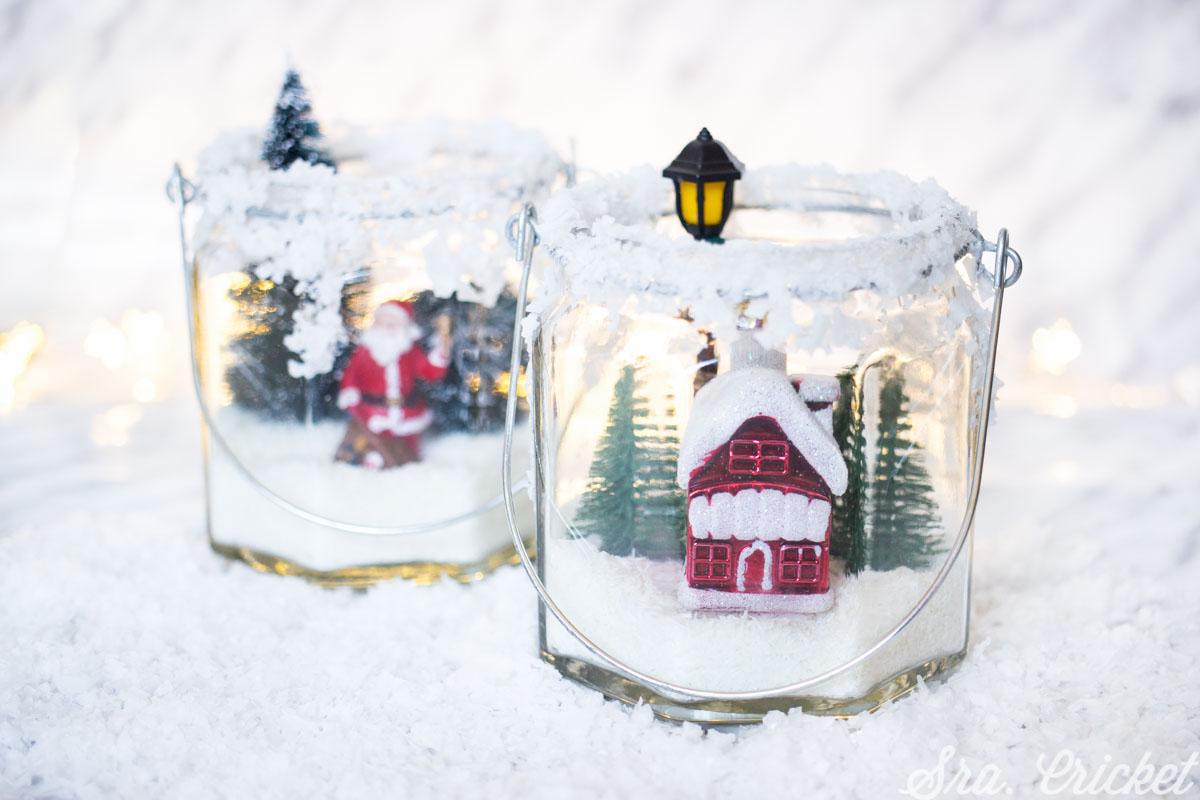 decorar tarros con nieve navidad con niños