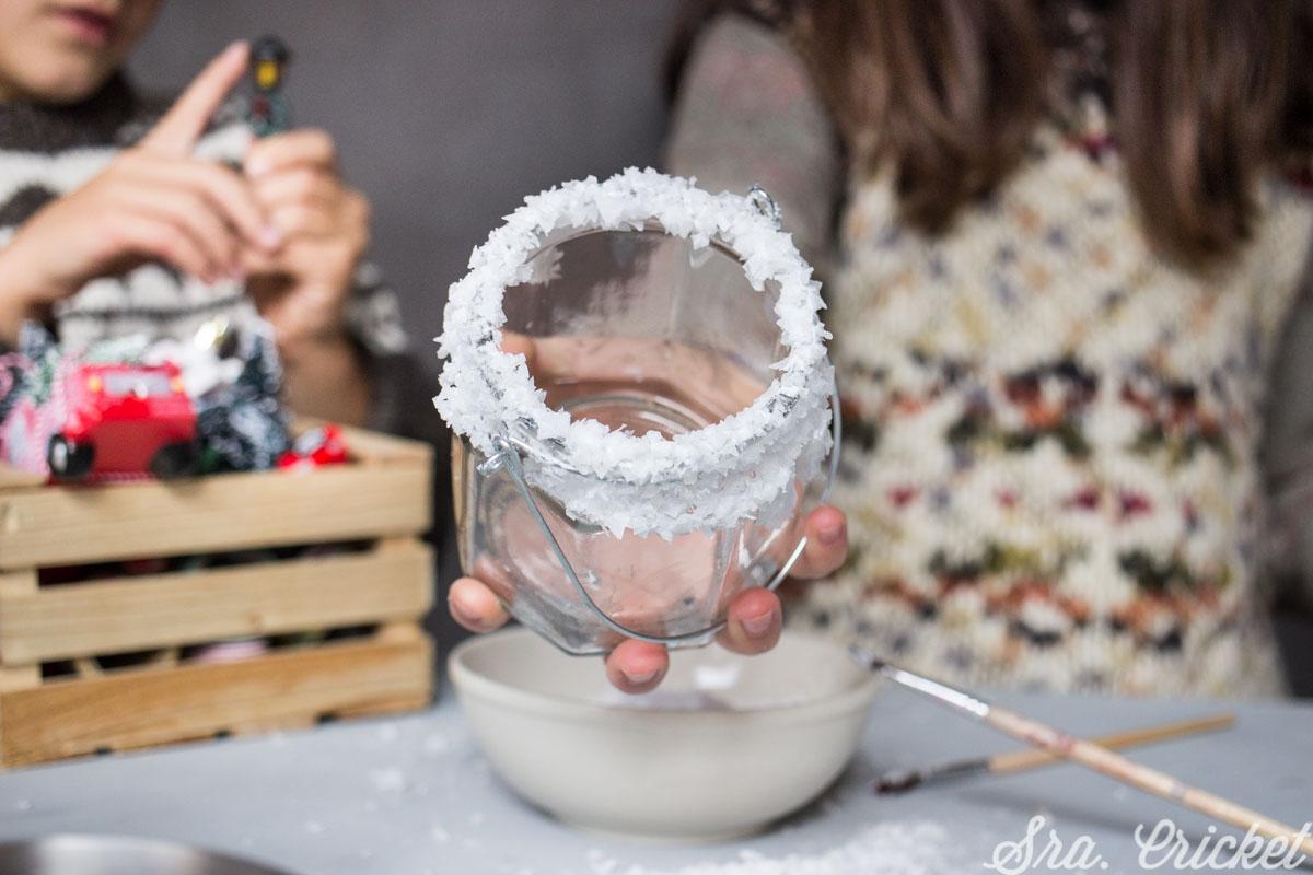 DIY tarros de nieve manualidades para niños navidad