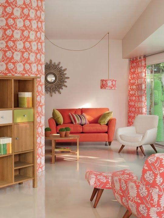 Decoración con color living coral del salón