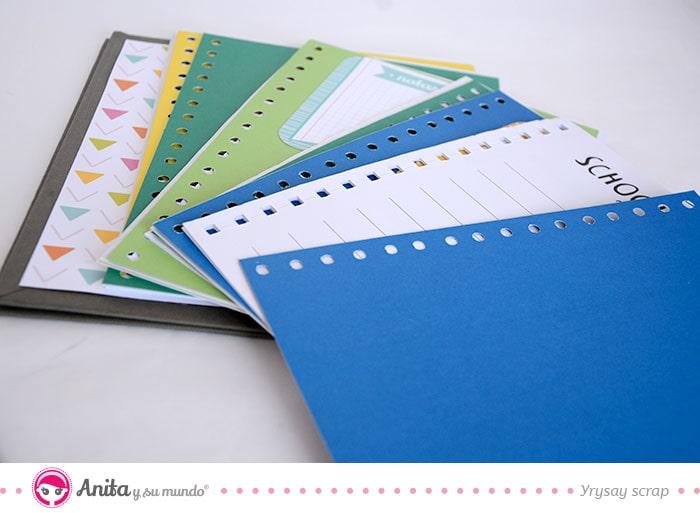 alterar una agenda con papeles scrap