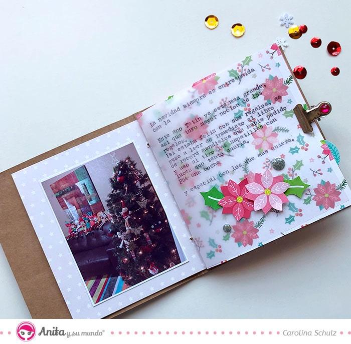 cómo hacer un mini álbum navideño con papel estampado