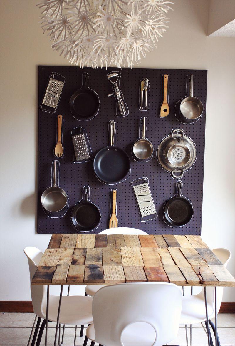 Organizador de pared en la cocina