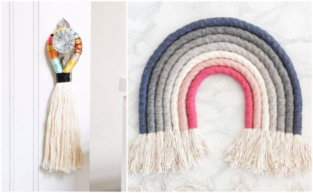 DIY | Arcoiris y colgador de puerta con hilo y cuerda
