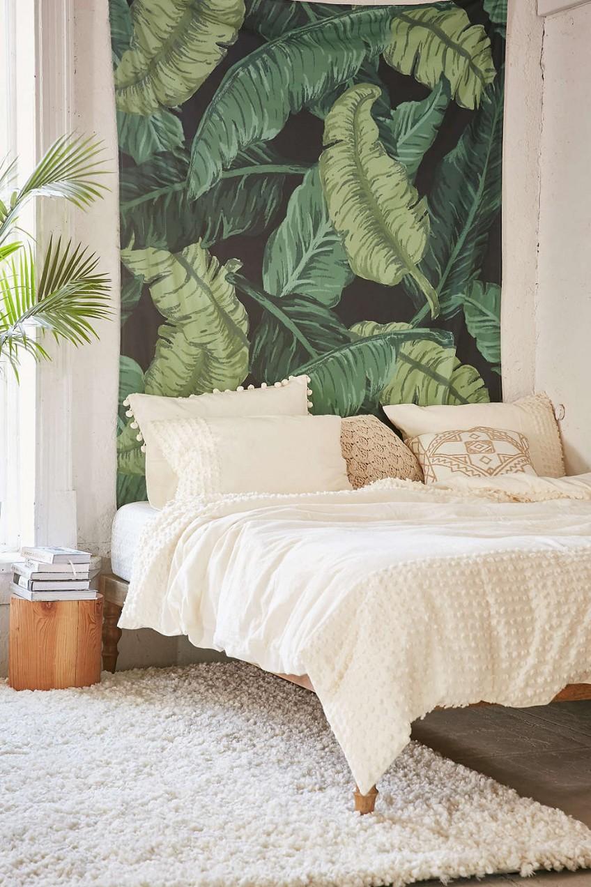 Textiles en el cabecero de la cama