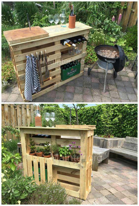 MInibar con palet para tu jardín
