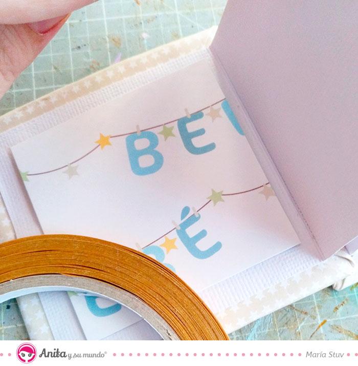 cómo decorar con papel estampado de scrapbooking