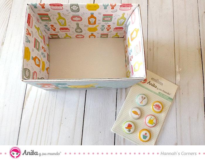 forrar cajas con papeles estampados de scrapbooking