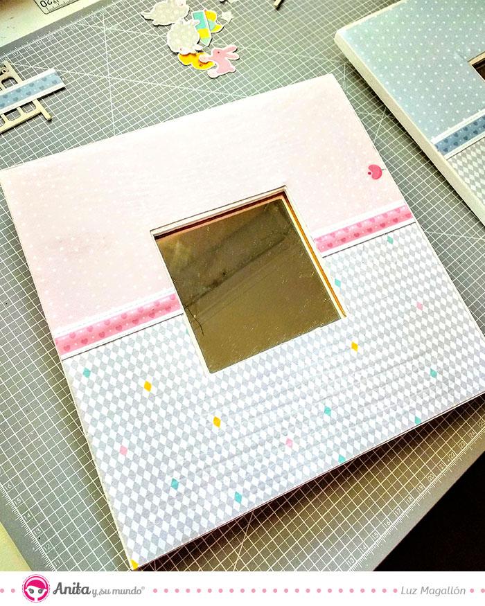 como alterar un cuadro con papel decorado