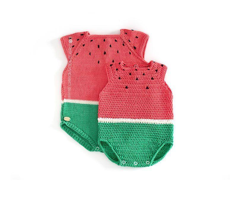 Cómo hacer un pelele de crochet Sandía DIY- Tutorial y Patrón