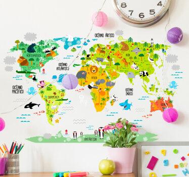vinilio adesivo mapamundi infantil