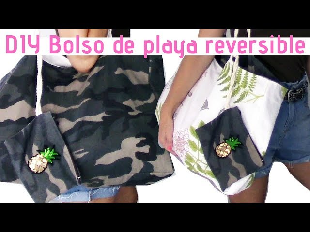 DIY  BOLSO  de PLAYA reversible!!, estampado militar tendencia /Diy beach bag (subtitulos en inglés)