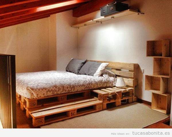 ideas para hacer camas de matrimonio con palets 7