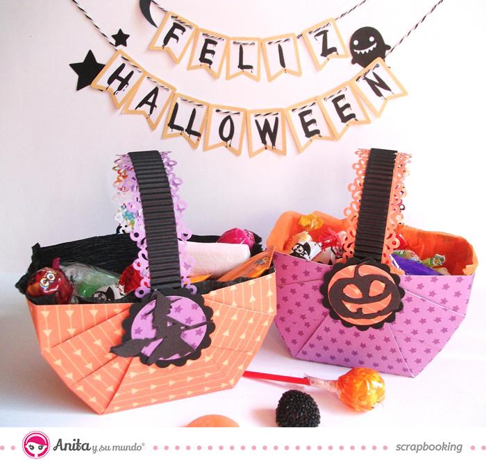 Decoración para Halloween: cestas de papel para caramelos