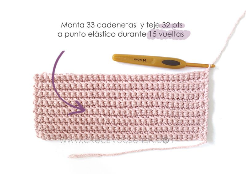 Cómo tejer  una Chaqueta Kimono de crochet de bebé - Patrón y Tutorial - Monta 33 cadenetas y teje 32 vueltas a punto elástico durante 15 vueltas