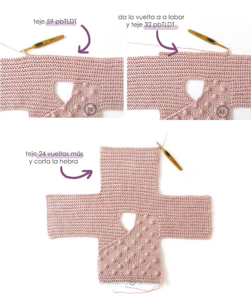 Cómo tejer  una Chaqueta Kimono de crochet de bebé - Patrón y Tutorial - Teje la espalda del kimono