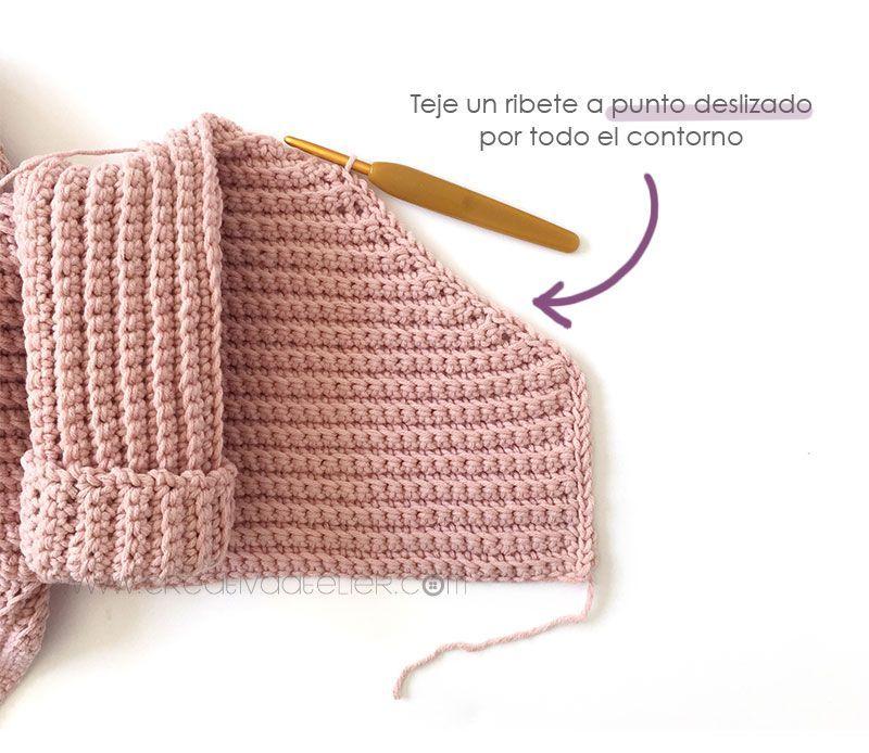 Cómo tejer  una Chaqueta Kimono de crochet de bebé - Patrón y Tutorial - Teje un ribete por todo el contorno