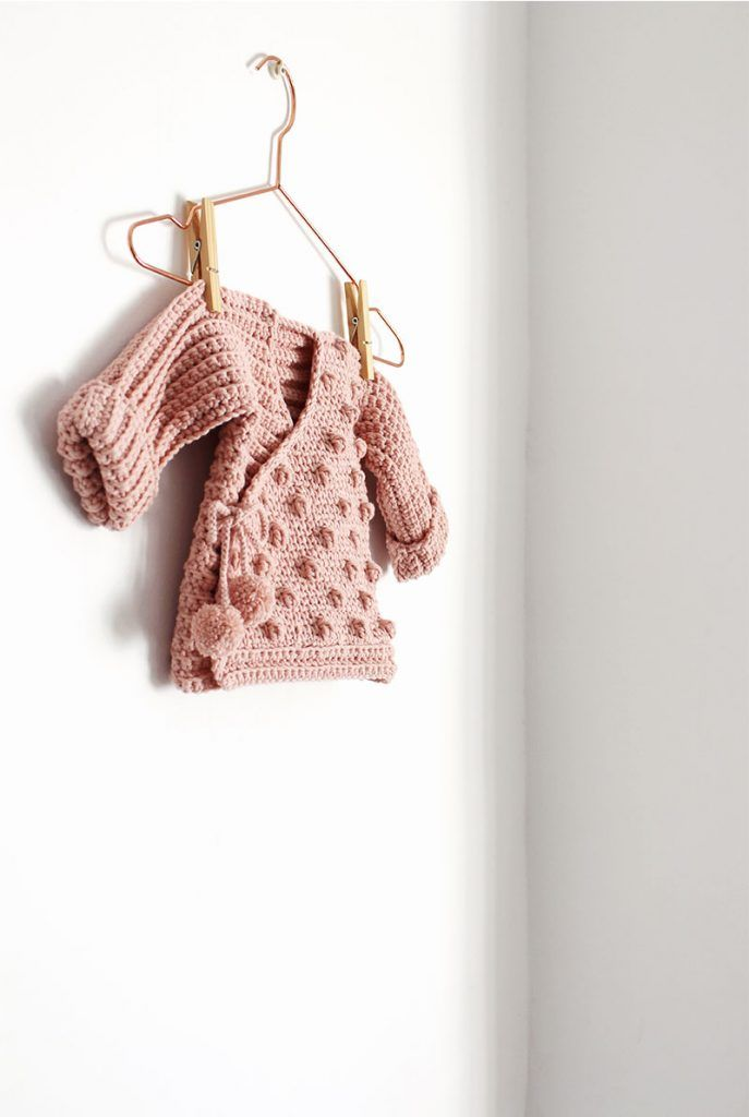 Cómo tejer  una Chaqueta Kimono de crochet de bebé - Patrón y Tutorial -