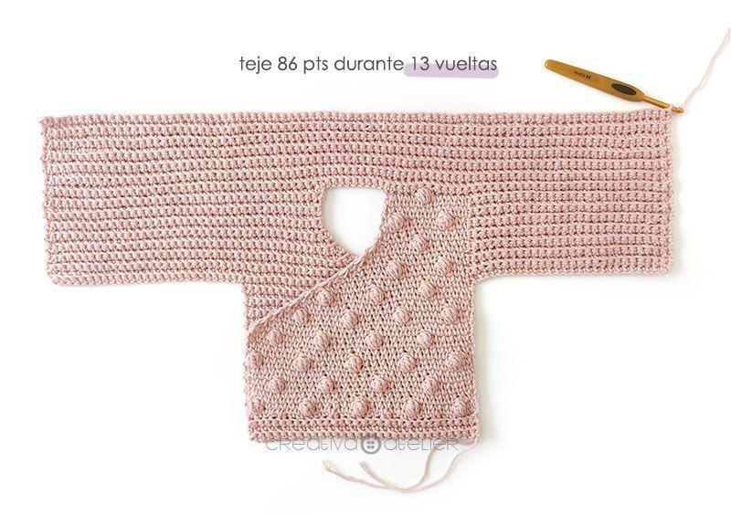 Cómo tejer  una Chaqueta Kimono de crochet de bebé - Patrón y Tutorial - Teje la parte de atrás de las mangas