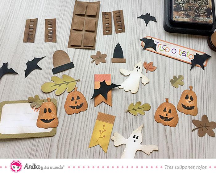 detalles de papel de halloween para decorar manualidades