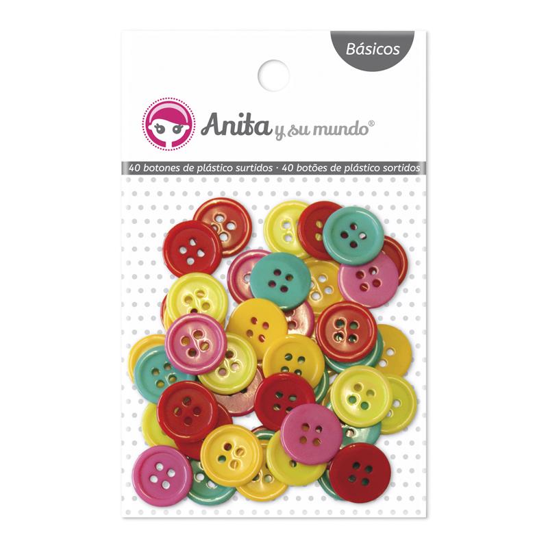 Botones de plástico grandes de Anita y su mundo para proyectos scrapbooking