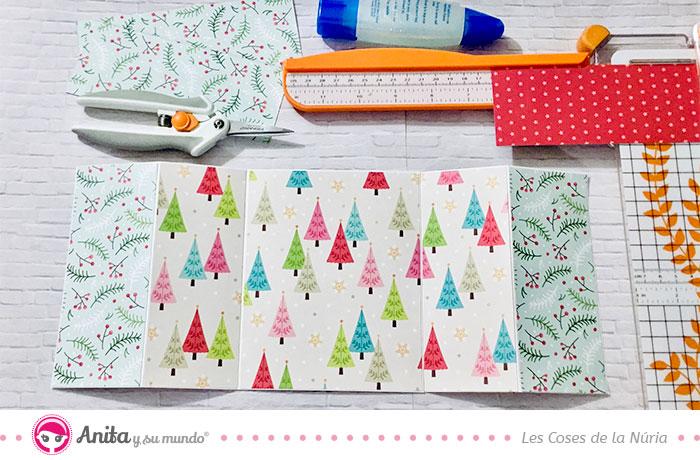 cómo decorar tarjetas navideñas con papeles bonitos