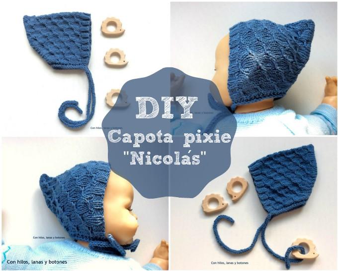 Con hilos, lanas y botones: DIY Capota pixie de punto para bebé (patrón gratis)