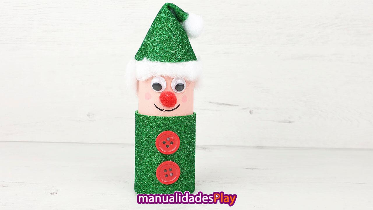 Elfo con rollo de papel higiénico para Navidad
