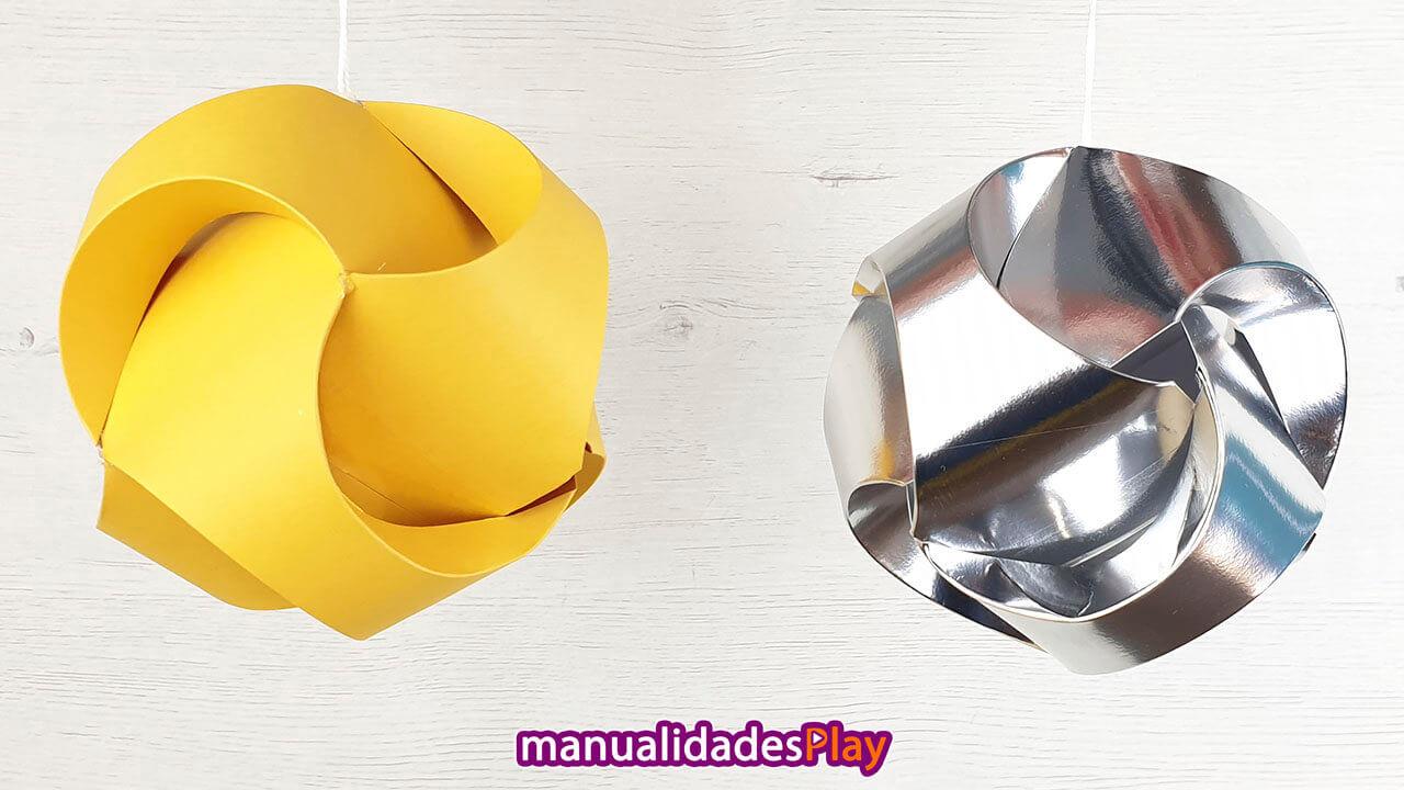 Esferas realizadas con papel para decorar en Navidad