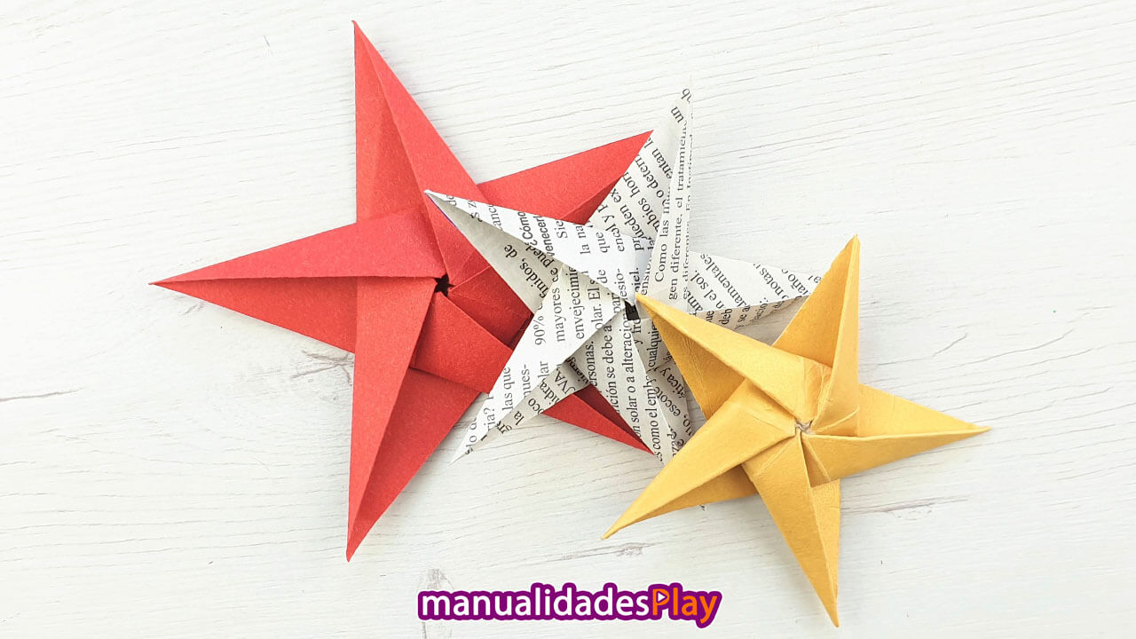 Estrellas de papel origami fácil