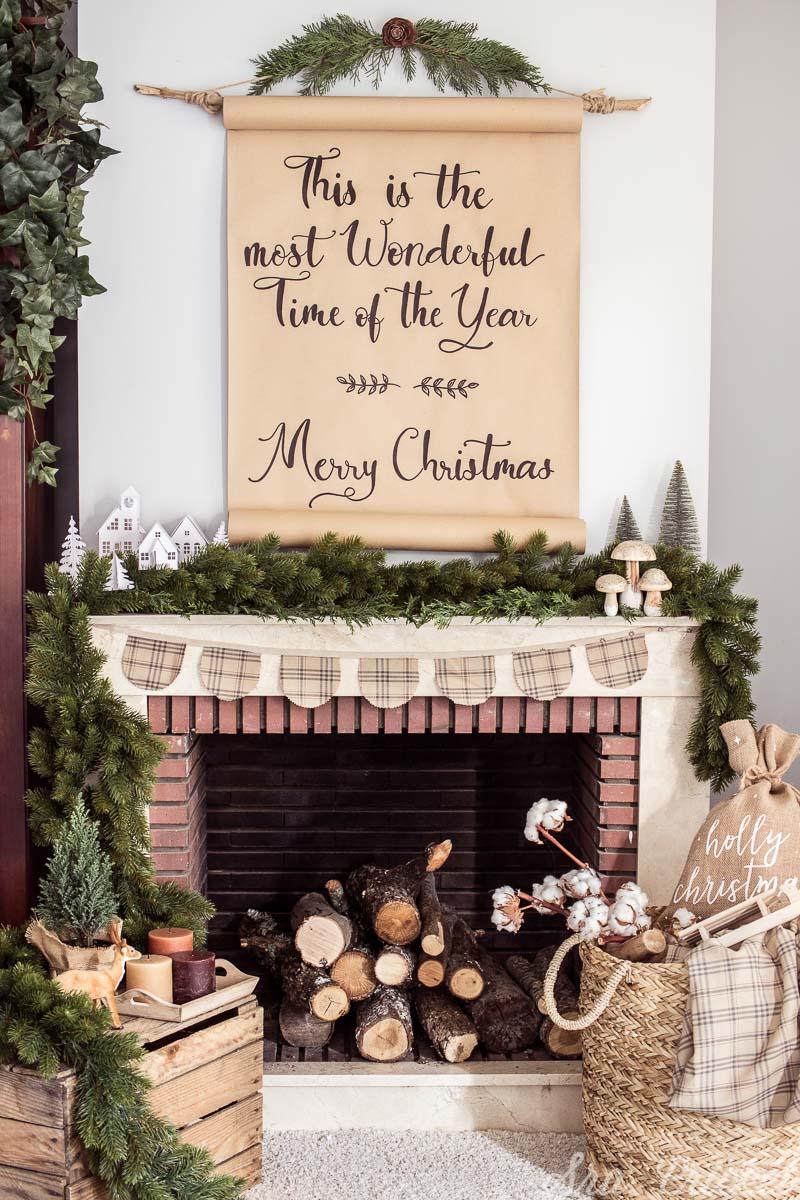 cartel navidad hecho a mano decoracion rustica