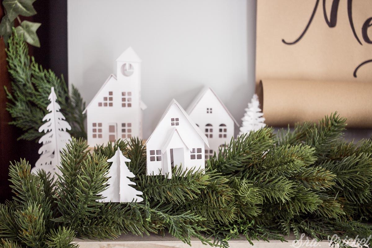 casitas de papel blanco pueblo navidad