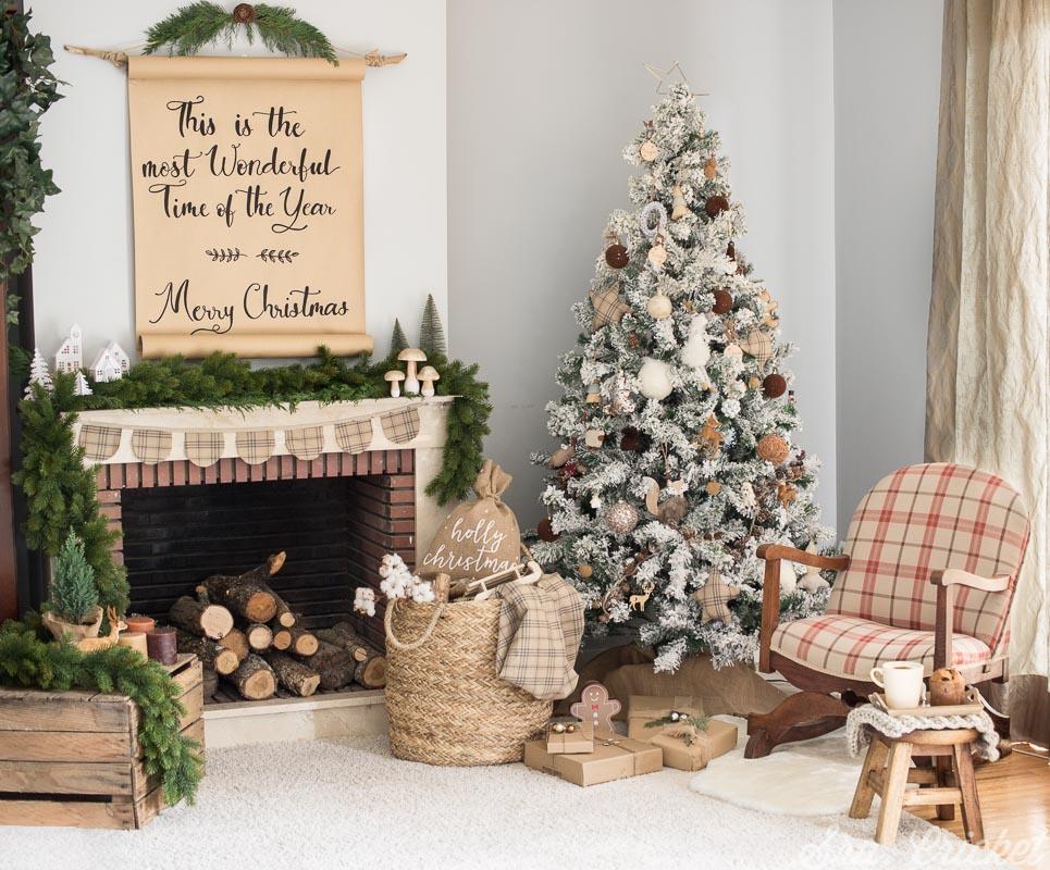 decoracion navideña estilo rustico en tonos marrones