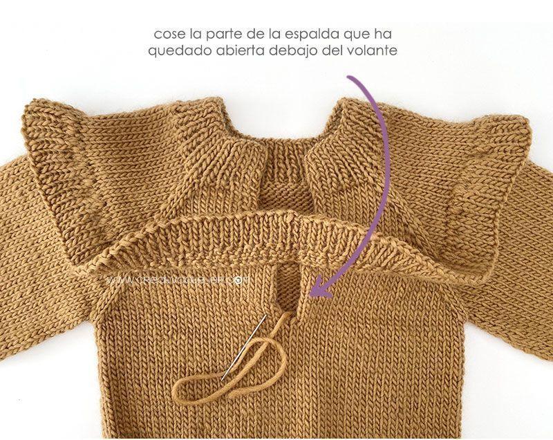 Cómo tejer un jersey de punto con volante para niña -Patrón y tutorial- Cierra la apertura posteriror