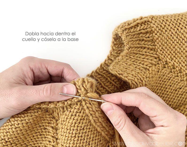 Cómo tejer un jersey de punto con volante para niña -Patrón y tutorial- Cose el cuello en su lugar