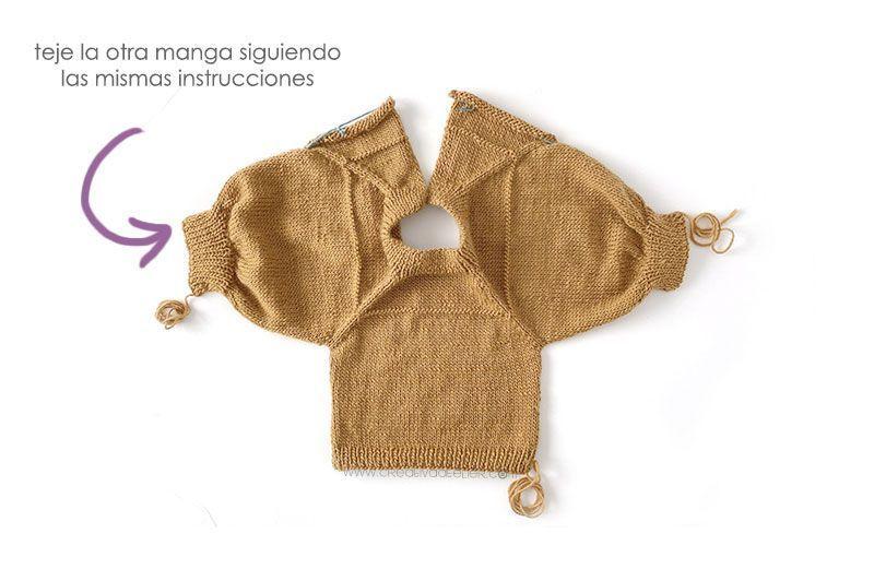 Cómo tejer un jersey de punto con volante para niña -Patrón y tutorial- Teje las mangas