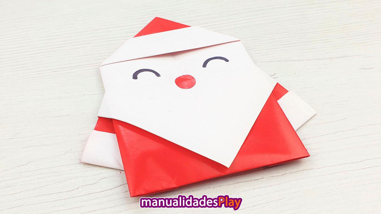 Manualidad de Pápa Noel de papel para hacer en Navidad