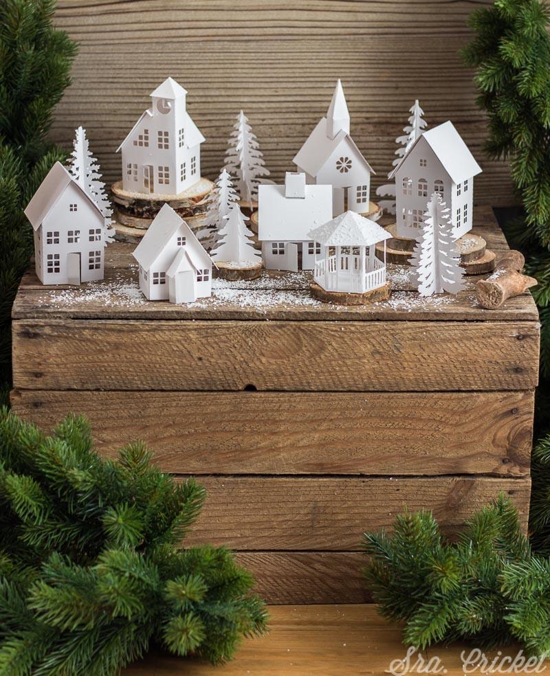 pueblo navideño de papel para montar precortado