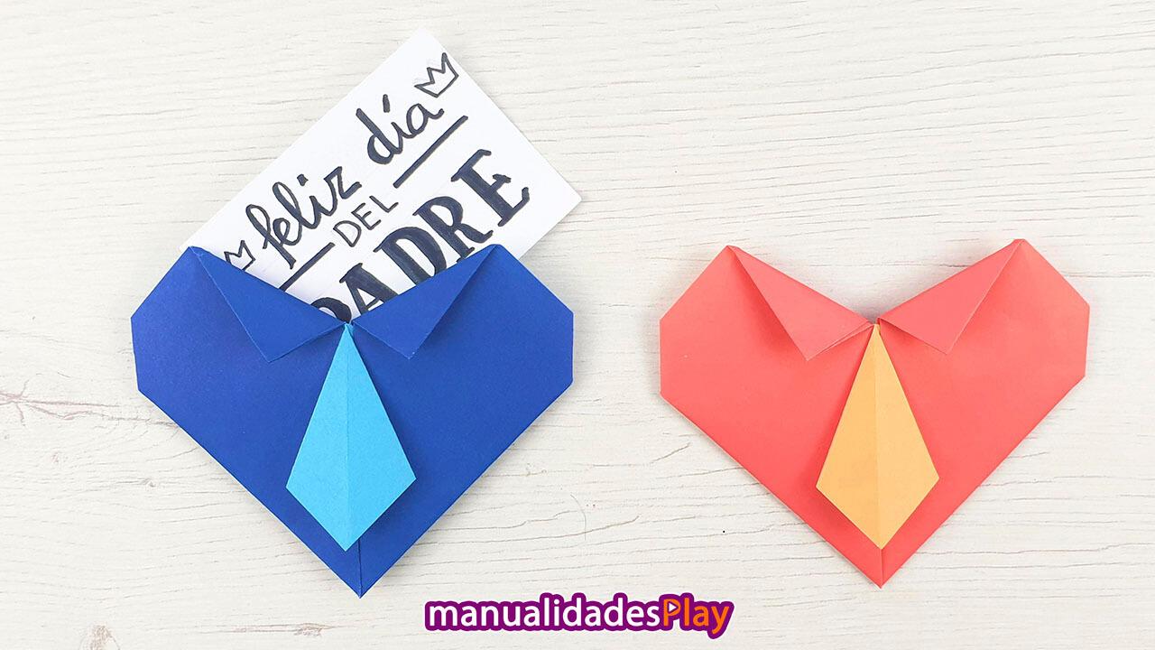 Corazones de origami en forma de camisa