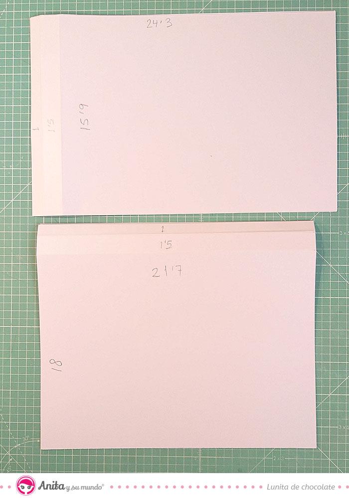 medidas para hacer un acordeon interior scrapbook con papel