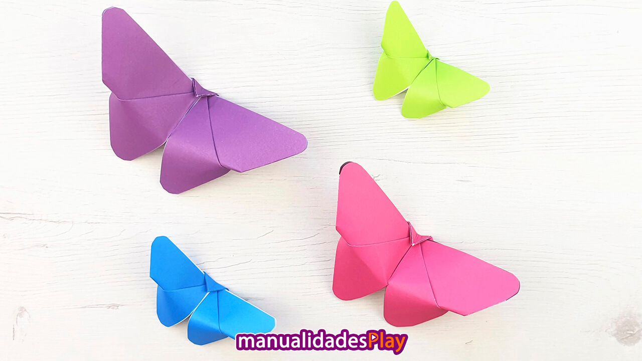 Varias mariposas de papel faciles hechas con una hoja de papel (diferentes colores)