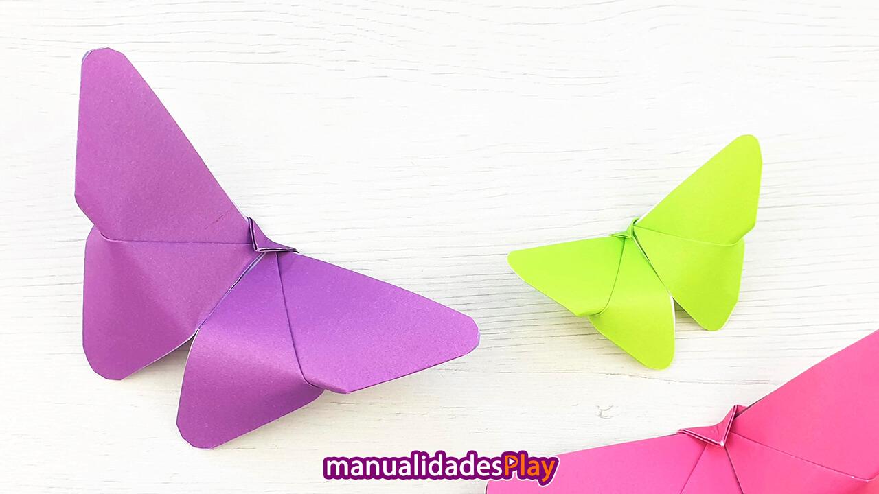 Mariposas de origami fáciles realizadas con papel en varios colores