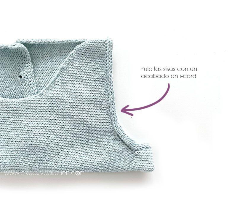 Cómo tejer el vestido de punto para niña y bebé SEASIDE - Patrón y Tuorial Paso a Paso - Terminación en i-cord